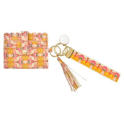Flower Child Marigold Wristlet Wallet in bright pinks and orange from Laura Park Designs. Front view