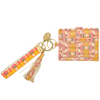 Flower Child Marigold Wristlet Wallet in bright pinks and orange from Laura Park Designs. Back view