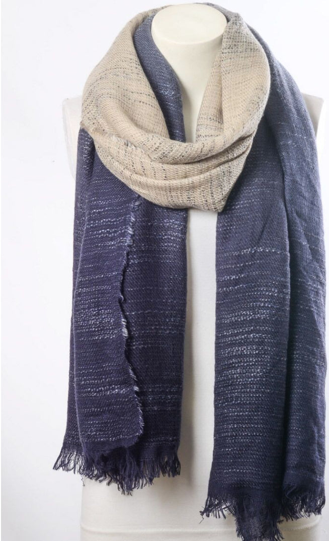 Navy Blue & Ivory Ombre Scarf