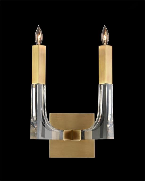 Acrylic and Brass Double Light Wall Sconce