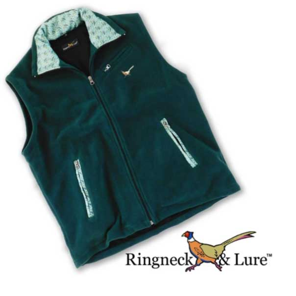 Atlantic Gamefish Hunter Green Fleece Vest Ringneck & Lure