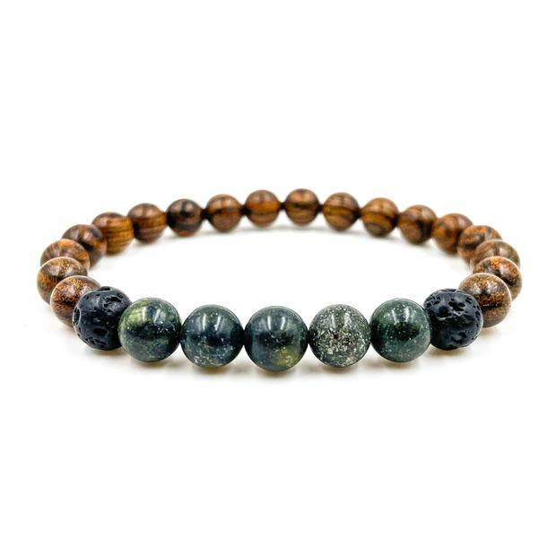 Green Serpentine and Dark Sandalwood beaded bracelet from Everwood