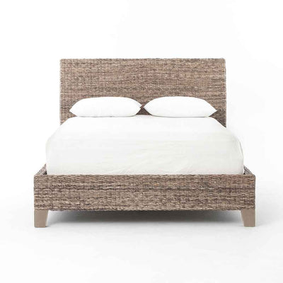 Banana Leaf King Bed abaca and mango wood Four Hands front view