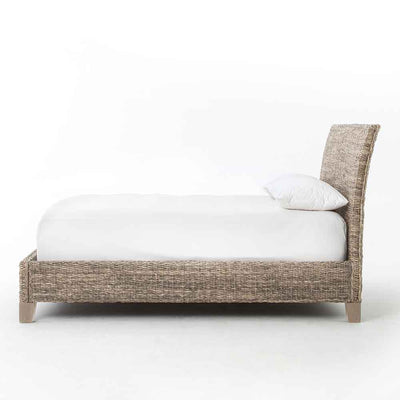 Banana Leaf King Bed abaca and mango wood Four Hands side view
