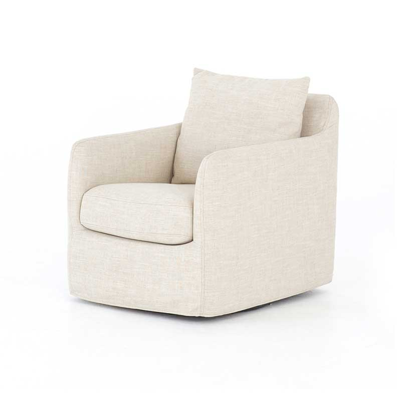 Banks Swivel Chair in Cambric Ivory from Four Hands