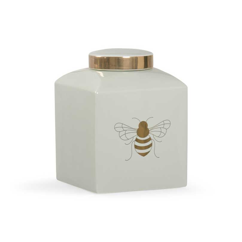 Bee Gracious ginger jar in frostworks with gold metallic royal bee from Chelsea House