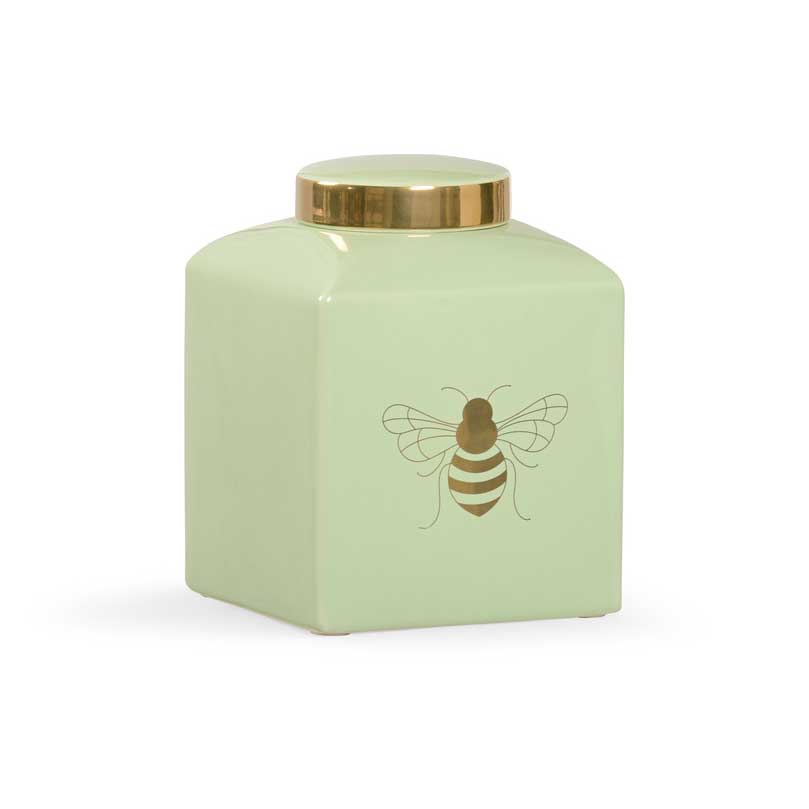 Bee Gracious ginger jar in pistachio with gold metallic royal bee from Chelsea House