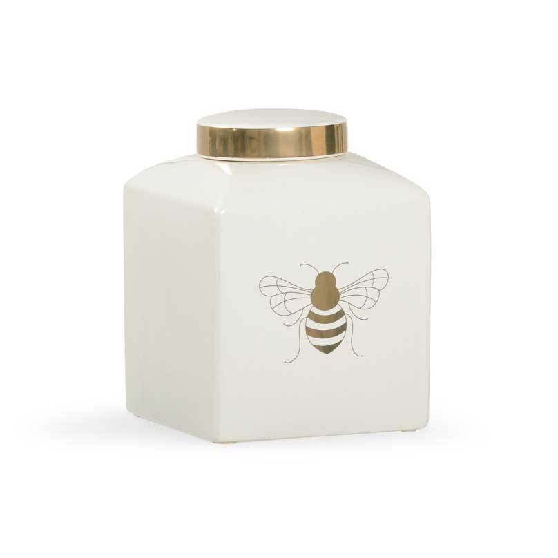 Bee Gracious ginger jar in white with gold metallic royal bee from Chelsea House