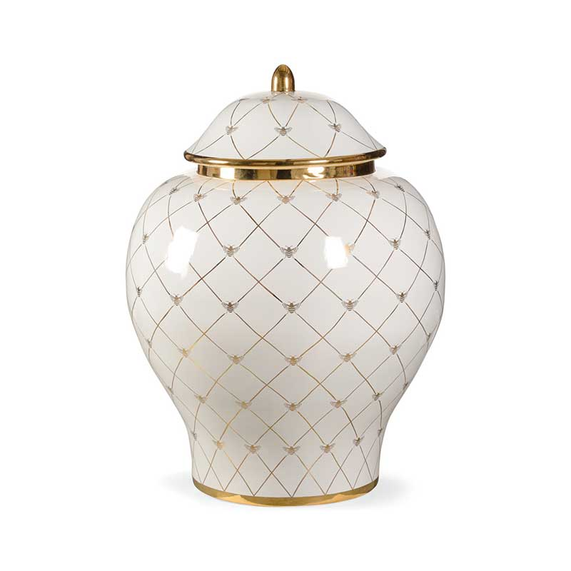 Bee Humble floor size ginger jar in white with gold metallic royal bee from Chelsea House