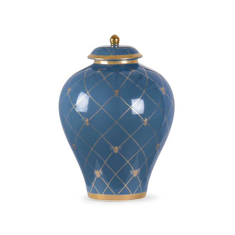 Bee Humble countertop ginger jar in blue with gold metallic royal bee from Chelsea House
