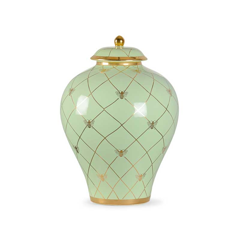 Bee Humble countertop ginger jar in pistachio with gold metallic royal bee from Chelsea House