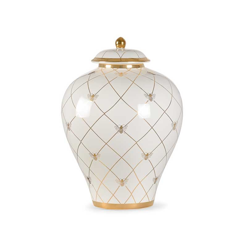 Bee Humble countertop ginger jar in white with gold metallic royal bee from Chelsea House