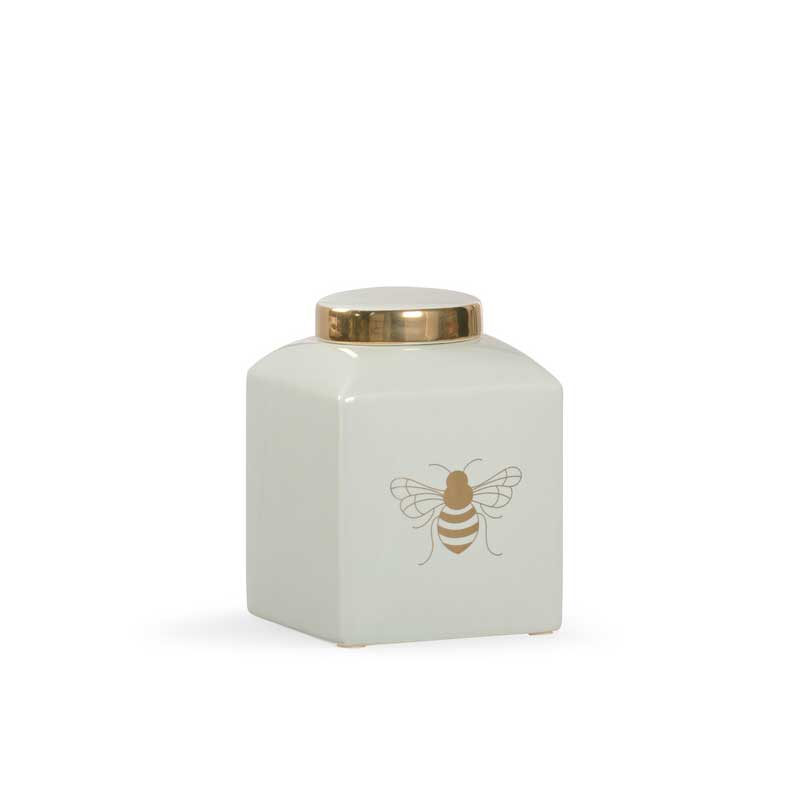 Bee Kind ginger jar in frostworks mint with gold metallic royal bee from Chelsea House
