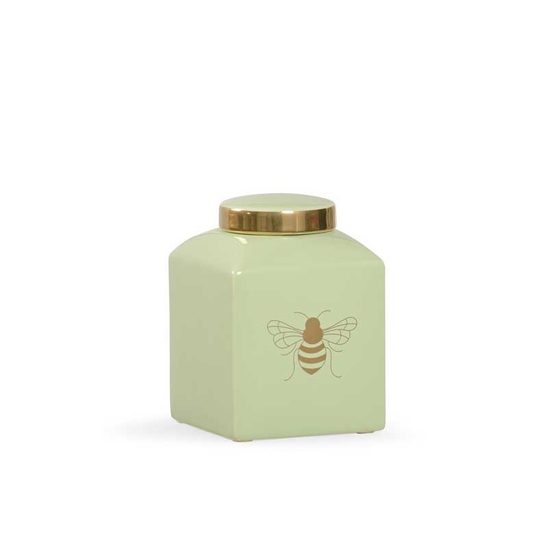 Bee Kind ginger jar in pistachio with gold metallic royal bee from Chelsea House
