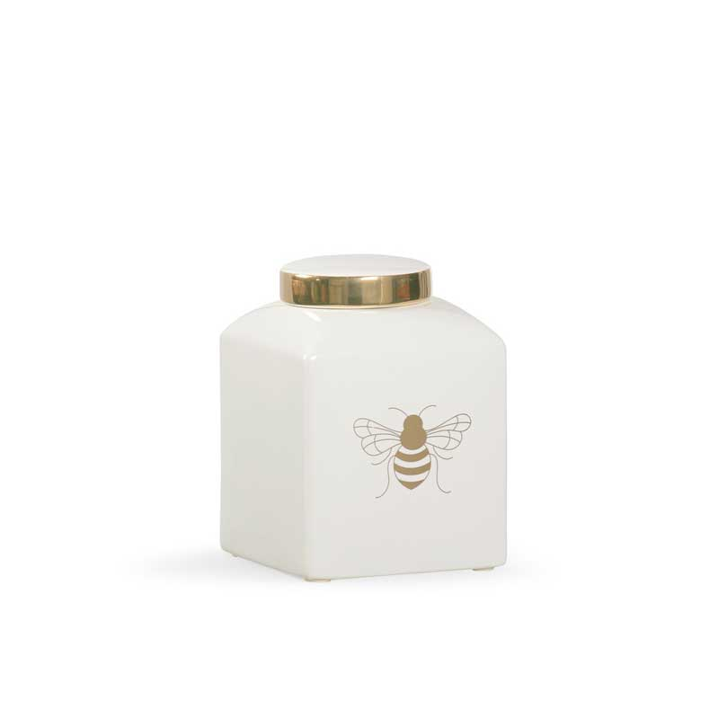 Bee Kind ginger jar in white with gold metallic royal bee from Chelsea House