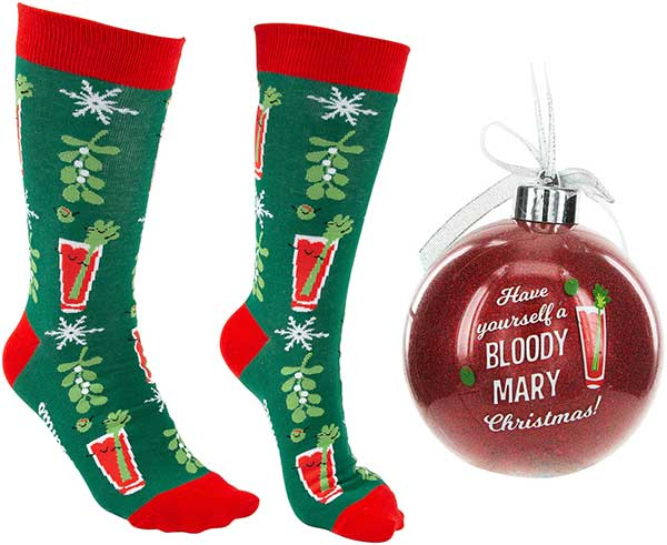 Bloody Mary Christmas Socks and ornament product image