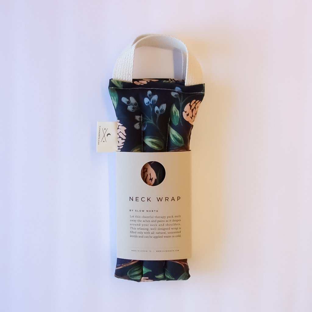 Blue Peonies floral nexk wrap relieves tension from Slow North package image