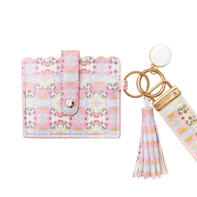 Brooks Avenue Pink Wristlet Wallet in soft pinks and yellows from Laura Park Designs