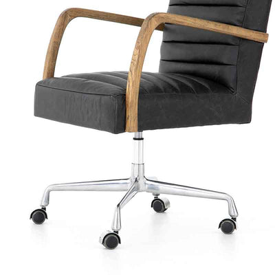 Bryson Channeled Desk Chair in smoky leather from Four Hand arm detail