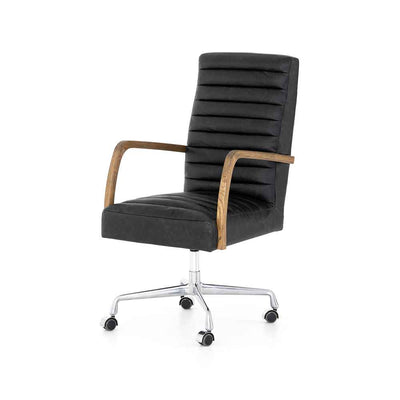 Bryson Channeled Desk Chair in smoky leather from Four Hand product image