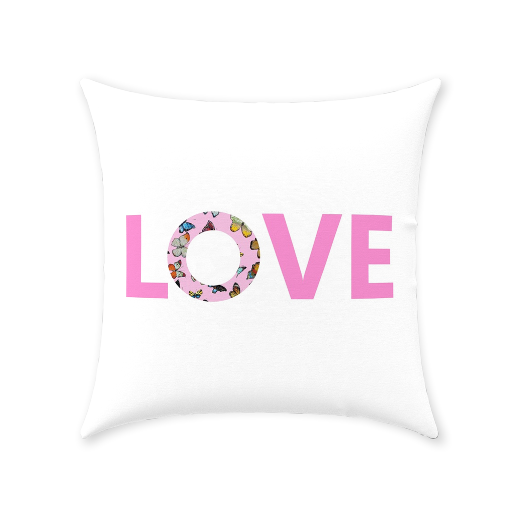Butterflies Pink Love Pillow with Love on white and pattern reverse from Laura Park Designs