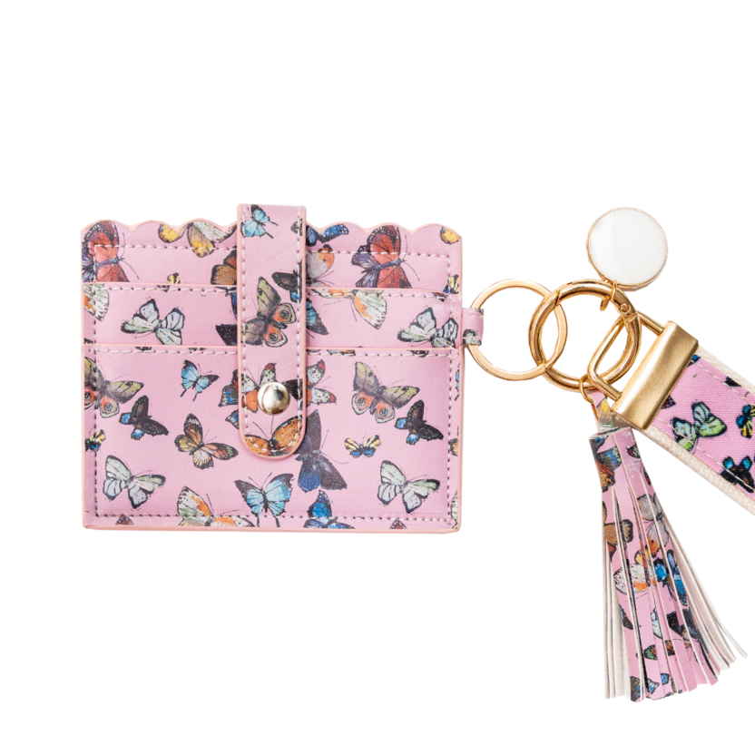 Butterflies Pink Wristlet Wallet in soft pink with butterflies from Laura Park Designs