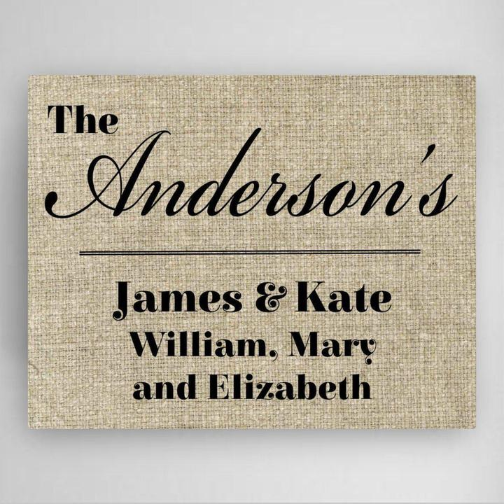 Our Family canvas sign with family name and each parent and child home accessory