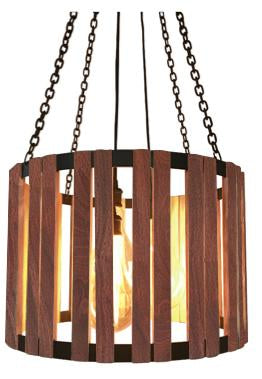 The Division Street Chandelier Carroll by Design Rosita Walnut with Black Cord