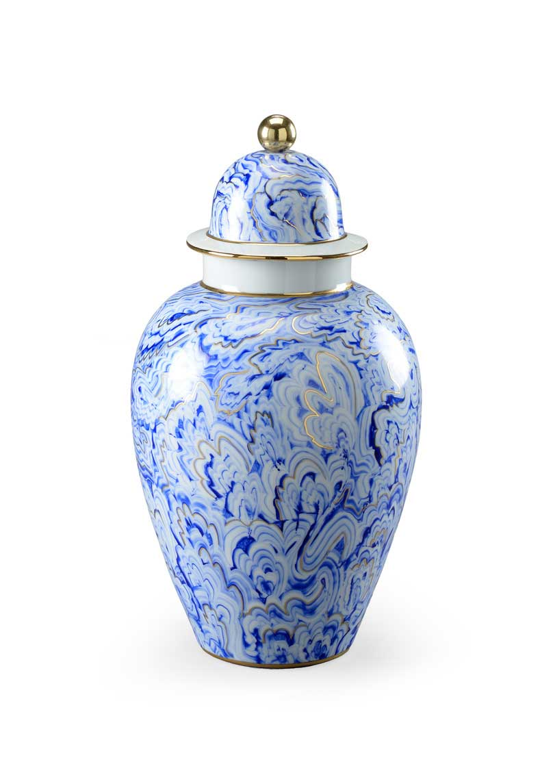 Marbelized Covered Urn Handpainted Blue and White Porcelain