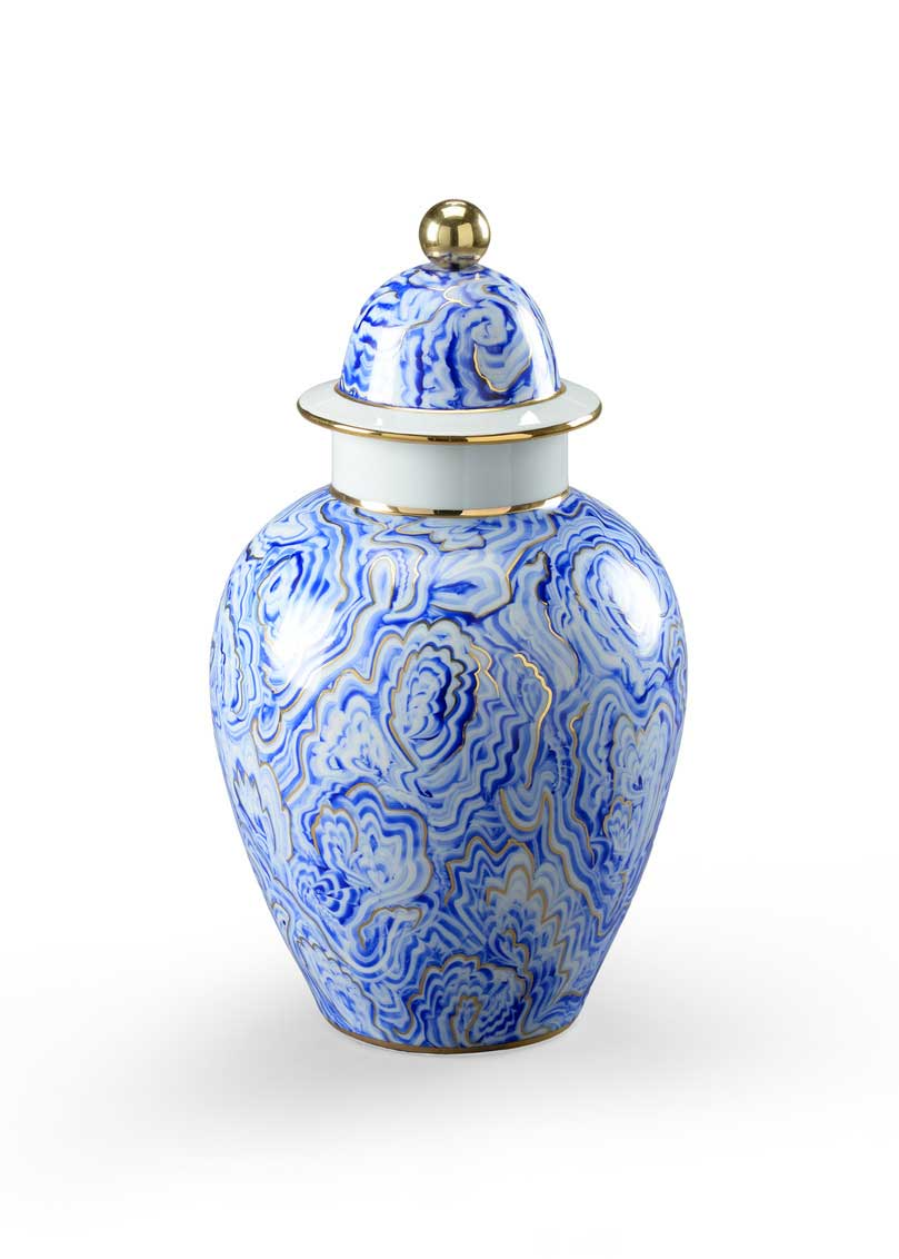 Marbelized Covered Urn Small Handpainted Blue and White Porcelain