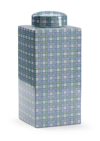 Gordon Plaid Vase Claire Bell Collection Porcelain Blue White Green