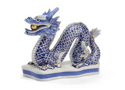 Blue Dragon Figurine Porcelain with Gold Accents