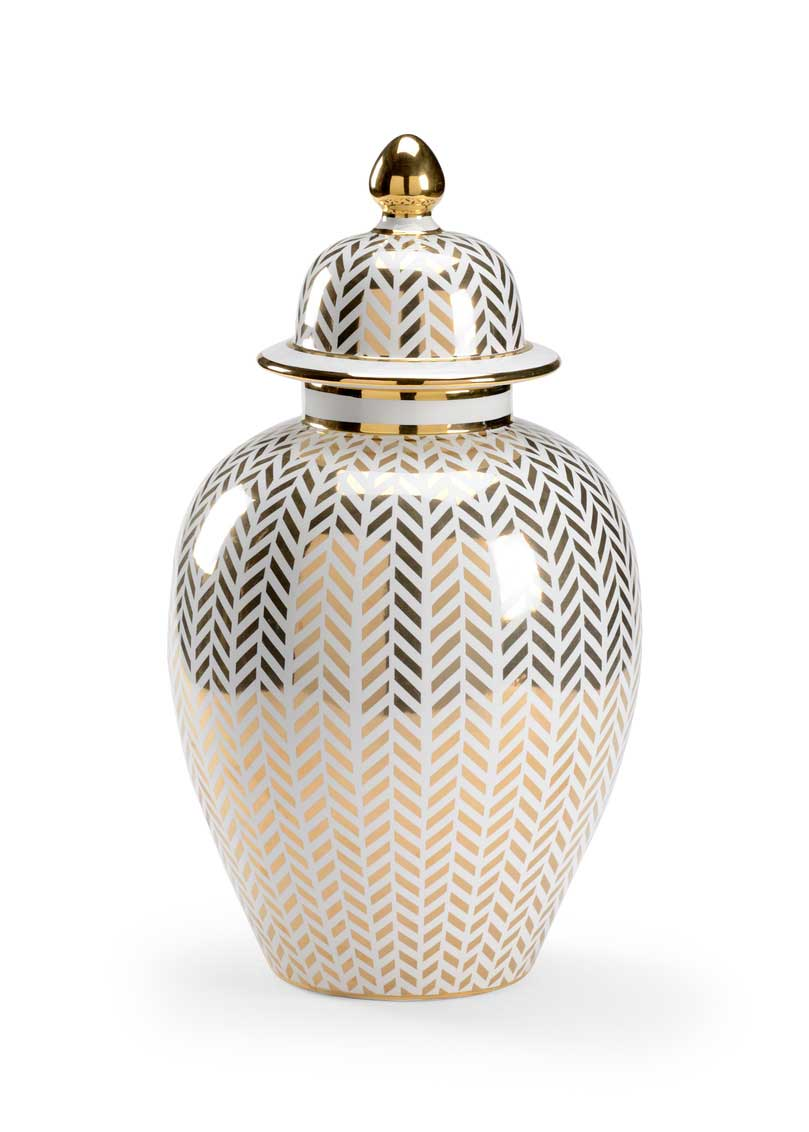 Herringbone Covered Urn-Gold Claire Bell Collection Chelsea House Ceramic Metallic Gold Finish