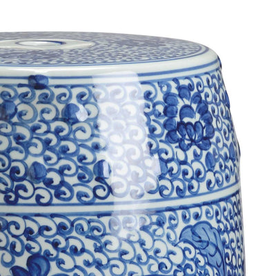 Zue Garden Seat Home Decor Accessory Blue and White Detail Image