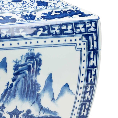 Ming Vase in Panel Blue and White Collection Chinoiserie Chelsea House Detail Image