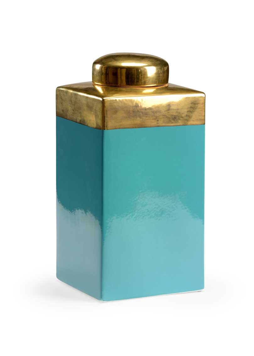 Stephen Tea Caddy Turquoise Glaze Gold Detail Claire Bell Chelsea House