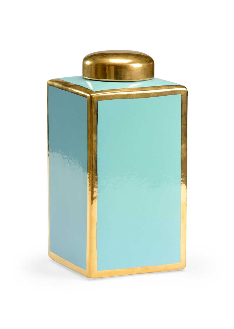 Link Vase Light Turquoise Gold Detail Claire Bell Chelsea House