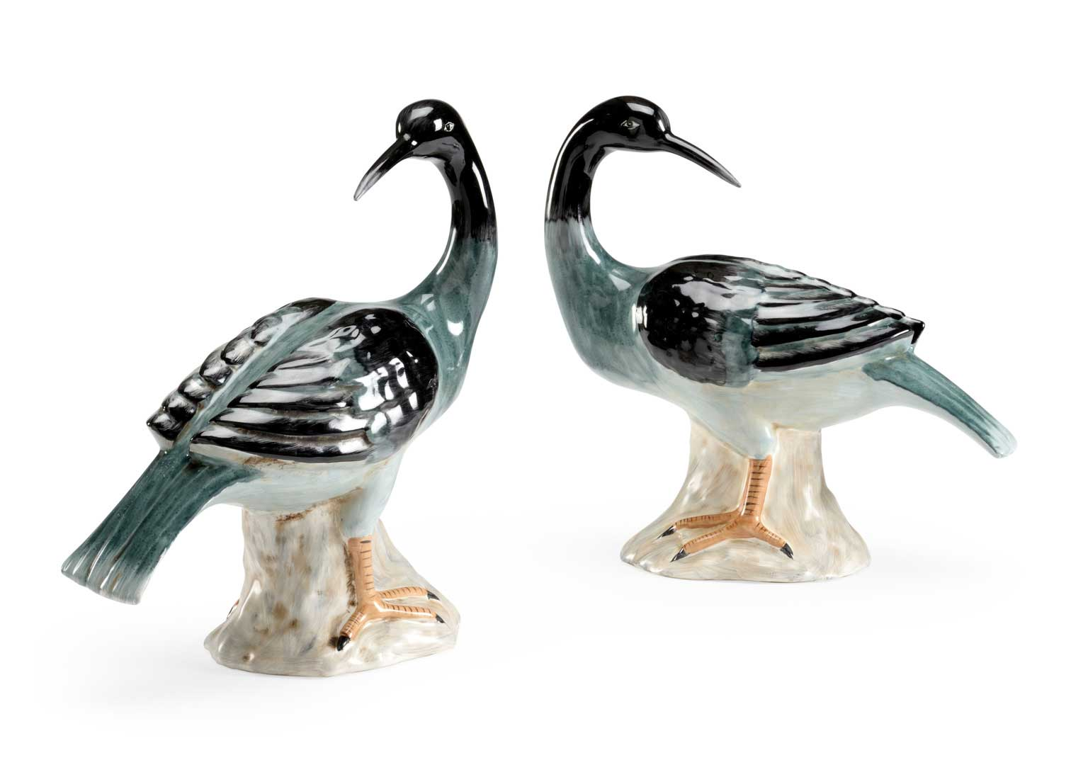 Loon Sculptures Green Pair Chelsea House Claire Belle Collection