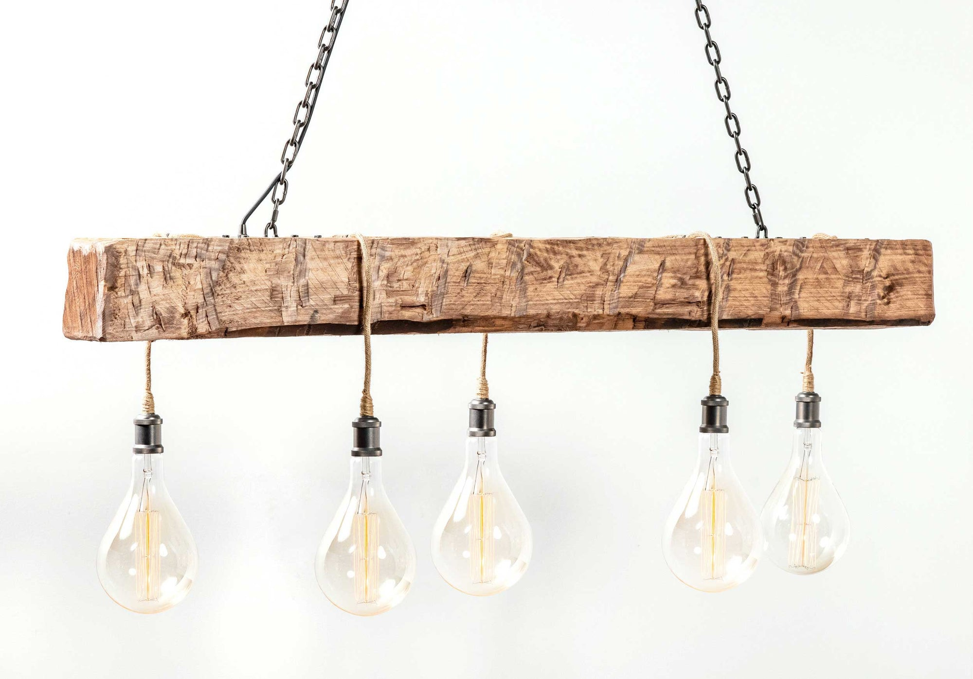 Cumberland Chandelier Hand-Hewn Brown with Hemp Lamp Cord Carroll by Design
