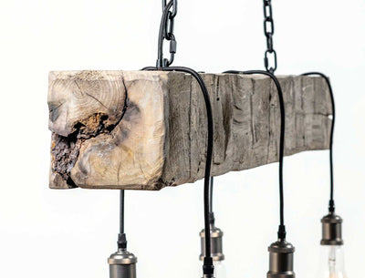 Cumberland Chandelier Hand-Hewn Greywash with Black Lamp Cord End View Close-up Carroll by Design