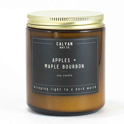 Amber Jar Candle with Bronze Lid Apples & Maple Bourbon Calyan Wax Co.
