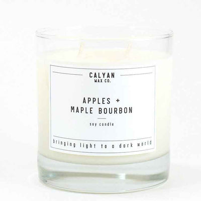Calyan Glass Tumbler Candle Apples and Maple Bourbon Scents