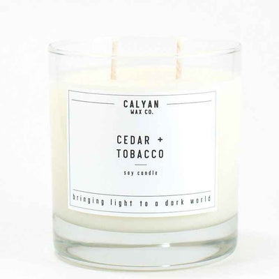 Calyan Glass Tumbler Candle Cedar and Tobacco Scents