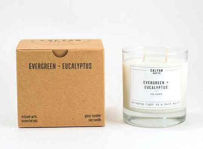 Calyan Glass Tumbler Candle Evergreen and Eucalyptus Scents with Recycled Packaging