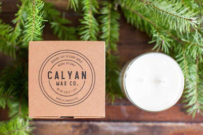 Calyan Glass Tumbler Candle Evergreen and Eucalyptus Scents Candle and Packaging