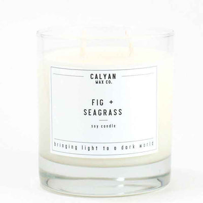 Calyan Glass Tumbler Candle Fig and Seagrass Scents