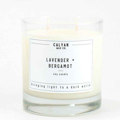 Calyan Glass Tumbler Candle Lavender and Bergamot Scents