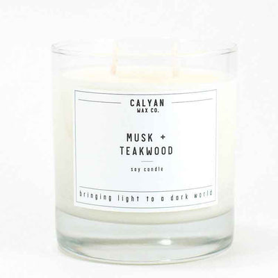 Calyan Glass Tumbler Candle Musk and Teakwood Scents