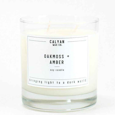 Calyan Glass Tumbler Candle Oakmoss and Amber Scents