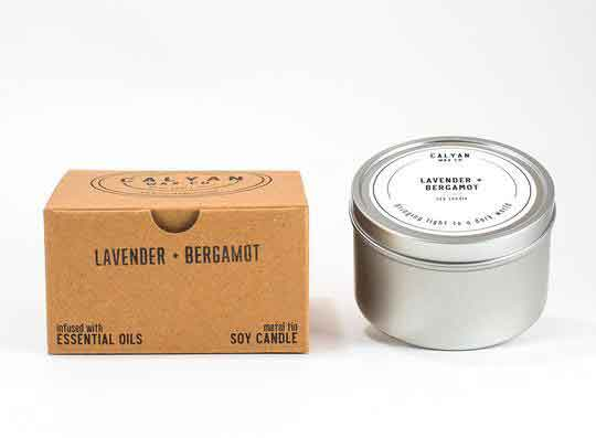 Metal Tin Candle Lavender + Bergamot Fragrances Calyan Wax